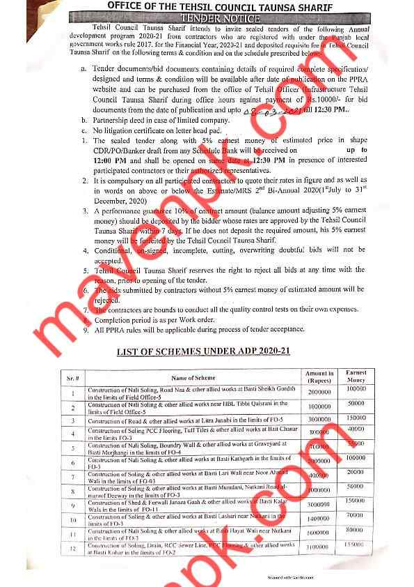 Punjab PPRA Latest Tenders 20 Feb 2021